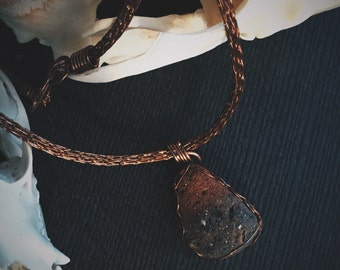 Copper Viking Knit Necklace with Natural Tumbled Brick Pendant