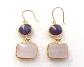 Gold plated dangle earrings with pink quartz and purple amethyst gem stones