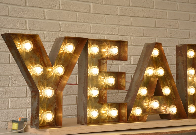 Rusty letters with LED lights