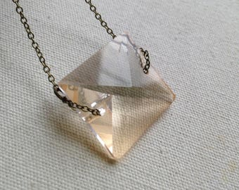 Crystal Square Pendant Necklace, Short Necklace, Crystal Necklace, Crystal Pendant, Minimal Necklace, Geometric Necklace, Free Shipping US