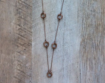 Copper Hexagon Necklace, Copper Necklace, Chain Necklace, Long Necklace, Geometric Necklace, Modern Necklace, Free Shipping US