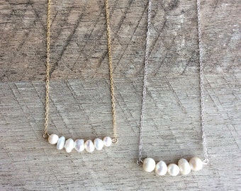 White Freshwater Pearl Necklace, Bar Necklace, Short Necklace, Pearl Necklace, Rustic Modern Jewelry, Free Shipping U.S.