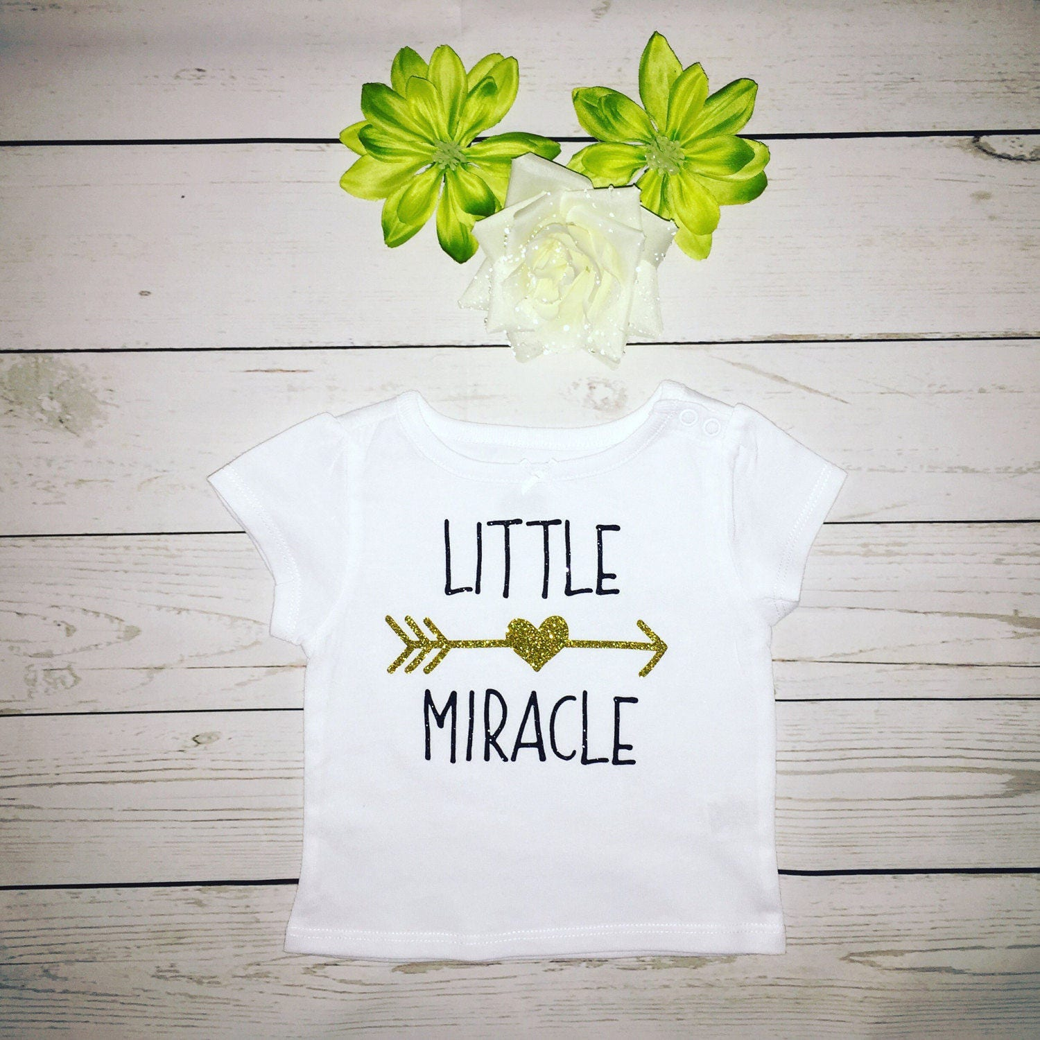 Baby Little Miracle T Shirt Baby T Shirt Gold And Black Glitter