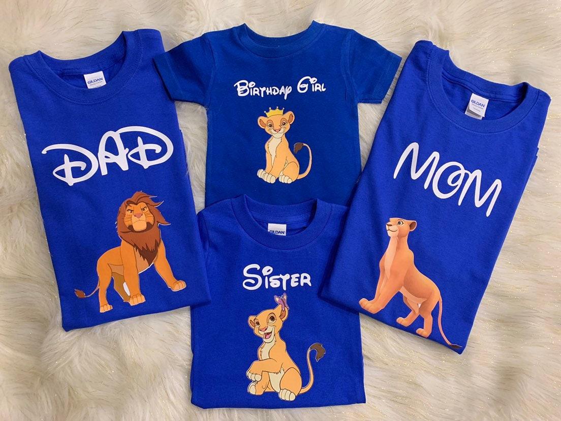 MomDad And Birthday Boy Lion King Family Matching T ShirtsBirthday