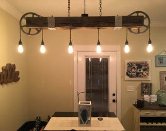 Vintage Reclaimed Wood Beam Chandelier with Zinc Pulleys and 6 Pendants