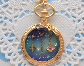 Hanging Galaxy Compass Necklace