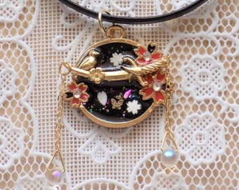 Japanese Cherry Blossom Bird Necklace