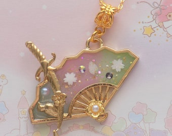 Japanese Cherry Blossom Fan Necklace