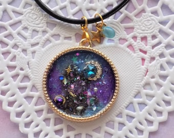 Galaxy Leather Choker Necklace