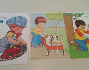 Little Boys Birthday Cards Unused Greeting 3 Year 4 7 Old Card Lot Of Majestic Greetings Crafting Scrapbook