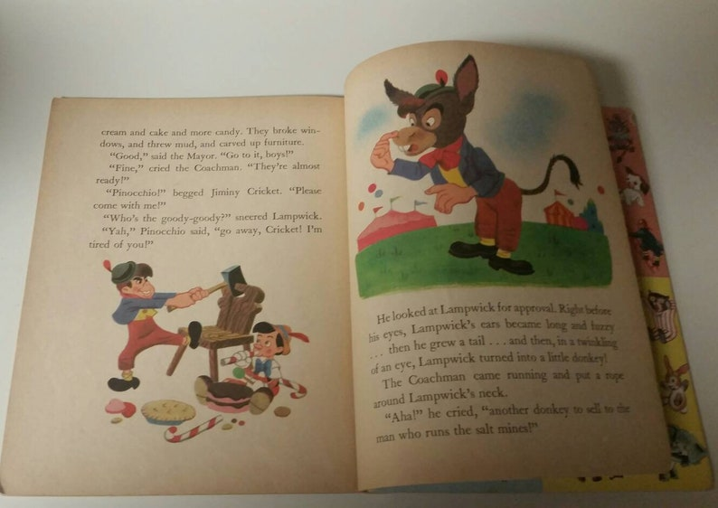 Walt Disney's Pinocchio/1949 Little Golden Book/Walt Disney Studio  Art/Nursery/Baby Shower/Junk Journal/Jiminy Cricket/Geppetto/Junk Journal