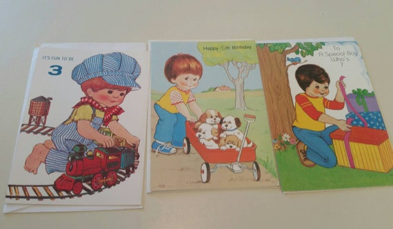 Little Boys Birthday Cards Unused Greeting 3 Year 4