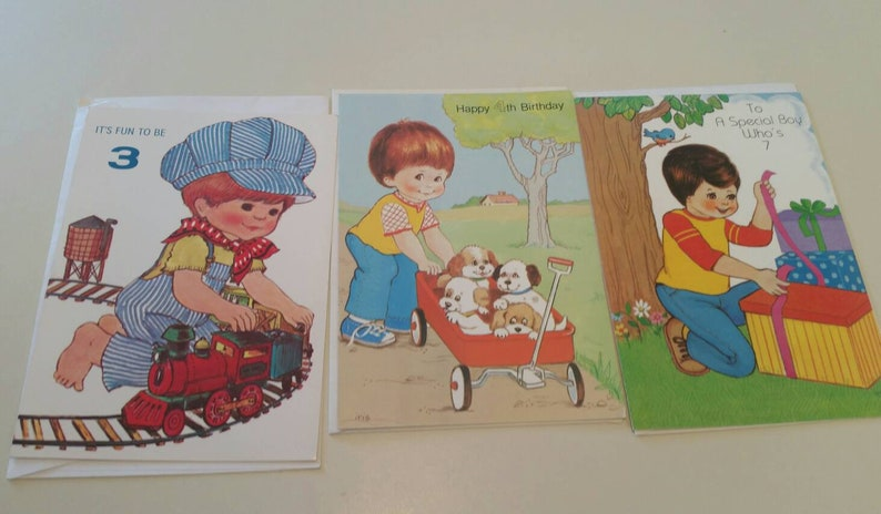 Vintage Unused Greeting Cards For Boys 3 Year 4 7