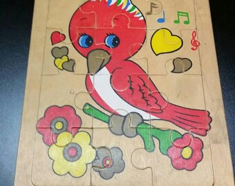 """Vintage Wooden Frame Tray Puzzle """"Red Bird""""/Unmarked Preschool Wooden Jigsaw Puzzle/12 Piece Puzzle/Nursery Decor/Daycare Supply"""