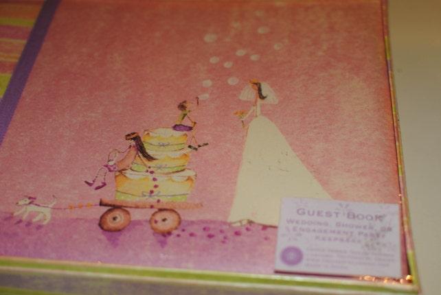 Hallmark Keepsake Shower to Wedding Guest Book/Unused and Unopened/Bride Pulling Wagon Art/Brides Gift/Shabby Chic Bridal Guest Book
