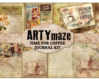 TIME For COFFEE Full Size Journal Kit INSTANT Download