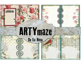 "SALE***De La Rosa - PRINTABLE journal kit - 5.5"" x 7"""