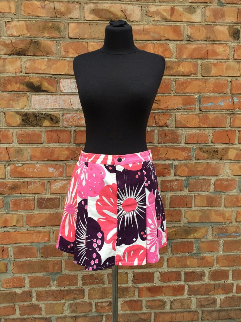 Dolce /& Gabbana Vintage Ittierre Spa cotton Pink floral print Skirt Size 3246 it