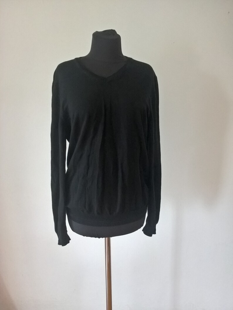 19b0a8ab1 HUGO BOSS cotton Black pullover Jumper sweater V Neck Casual | Etsy
