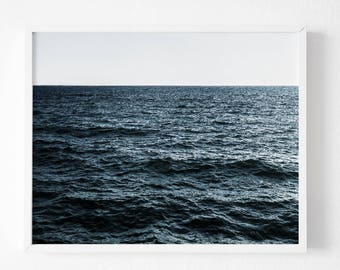 Beach photography, large art, blue beach photo, dreamy pastel blue sea, ocean, blue beach art, coastal wall decor, home decor, wall art