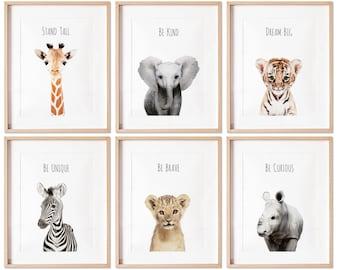 safari animal nursery name sign nursery wall art for jungle theme baby shower Custom watercolor elephant print for kids