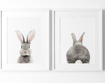 Set of 2 Bunny Prints,  Nursery Decor, Animal Prints for nursery, Woodland nursery prints, Modern Baby Room Bunny, Rabbit Print