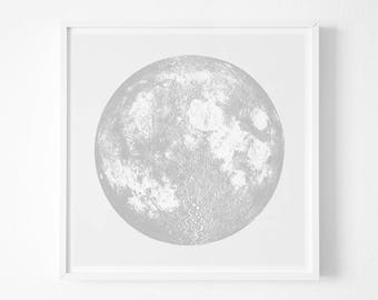 Moon PrintSilver Print Realistic Boho Bohemian Squere Screenprint Gift Idea