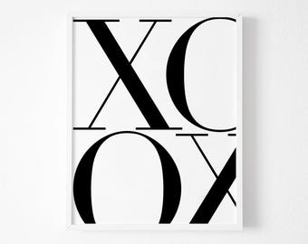 Typography Art, Printable XO, Wall Decor, XO Art, XO Print, Printables, Typography Print, Downloadable Art, Xo Wall Art, Wall Decor