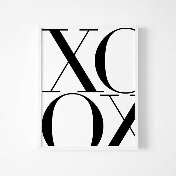 Wall Art Decor Print A5 A4 A3 XOXO Typography Type Designer Font Poster