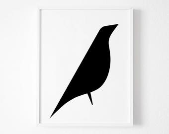 Bird Print, Eames Bird Print, Bird Poster, Bird Art, Bird Wall Art, Printable Art,Scandinavian Print, Black and White