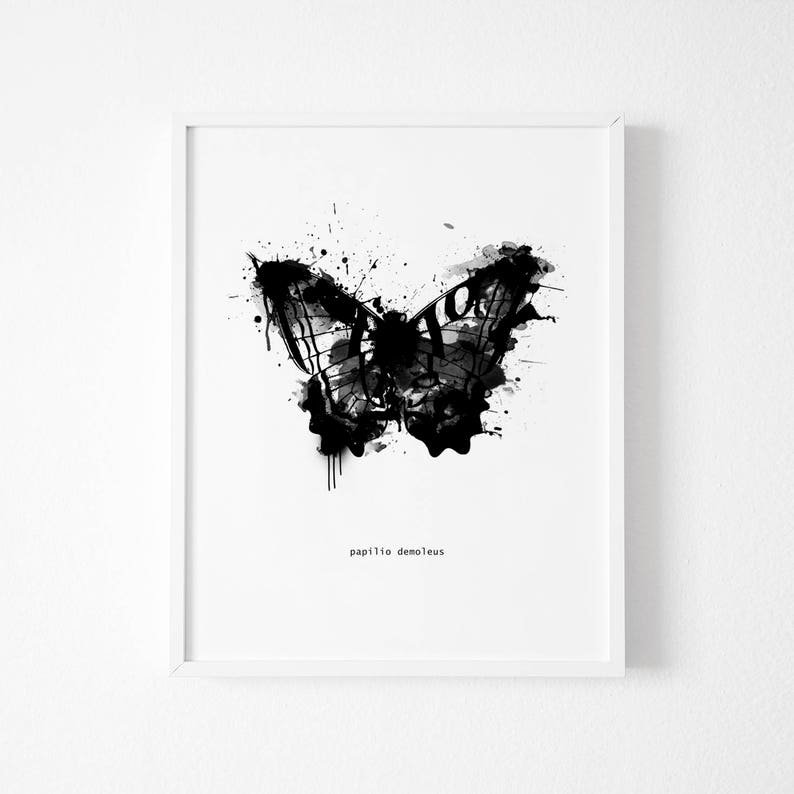 Black And White Abstract Butterfly Wall Art Butterfly Art Print Watercolor Butterfly Black And White Wall Art Butterfly Print