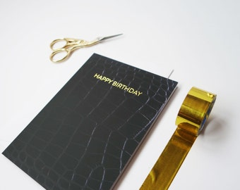Happy Birthday Card Letterpress Gold Foil Him Her Black Leather Effect Minimal