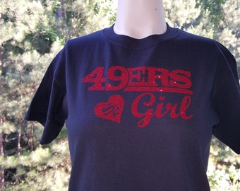 ba894301c 49ers Girl Black T-Shirt with Red Glitter Letters