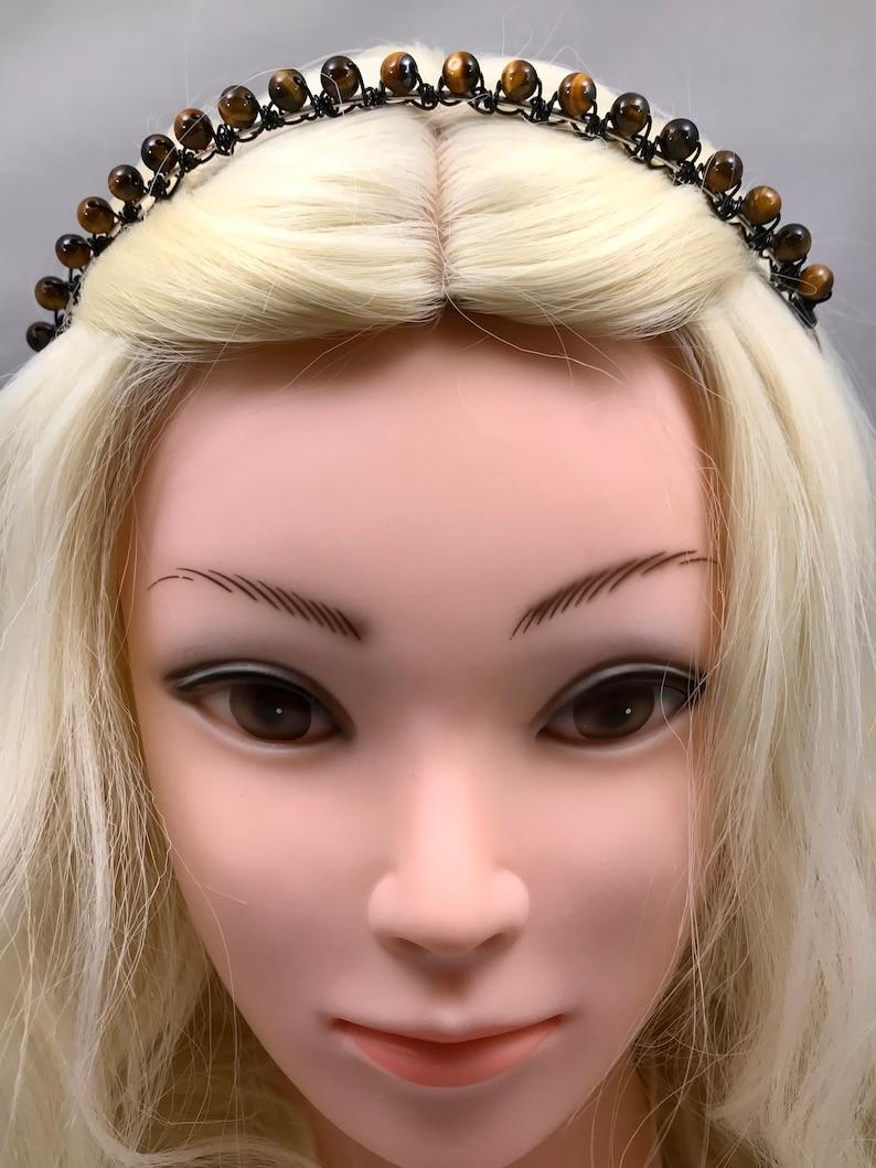 Tiger/'s Eye Headband ~ Wire Wrapped Beaded Tiara ~ Natural Crystal Gem Stone Headpiece ~ Belfry Studios