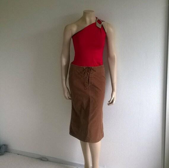 Vintage 90s skirt//Velvet Pencil skirt