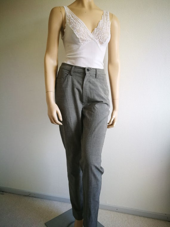 Vintage boho pants high waist Cigarette pants trou