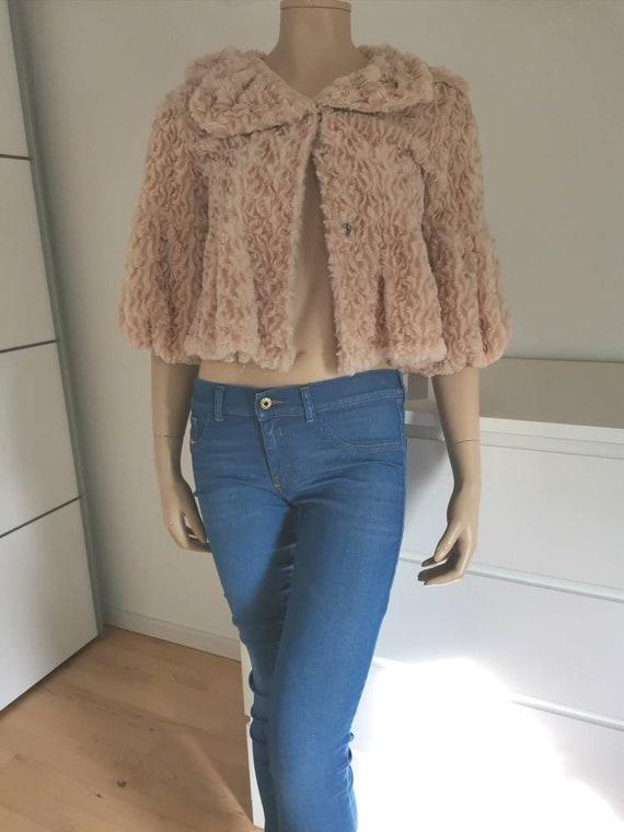 Vintage Fur cape//crop cape jacket