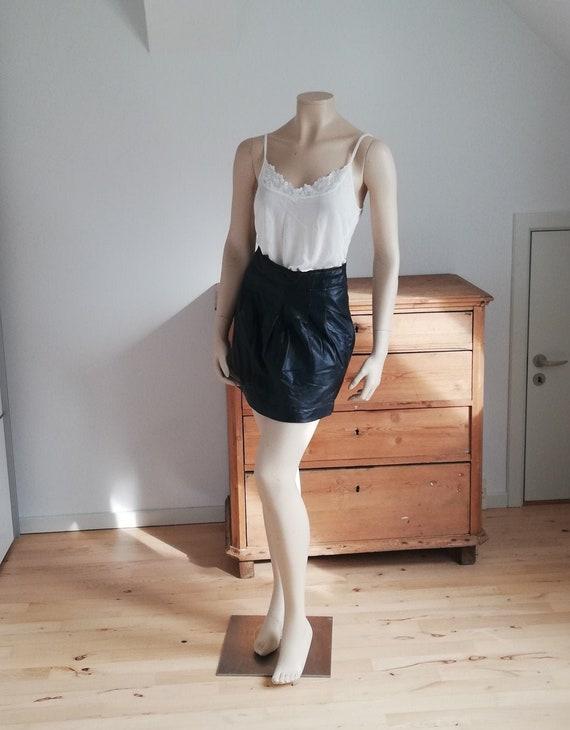 Vintage skirt Leather skirt black high waist leath