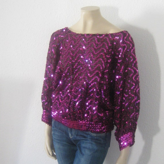 Vintage 80s top//SEQUIN Studio 54 Purple Disco Gla