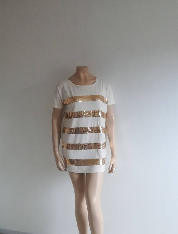 1990s dress//Loose fit mini sequin dress/Shirt