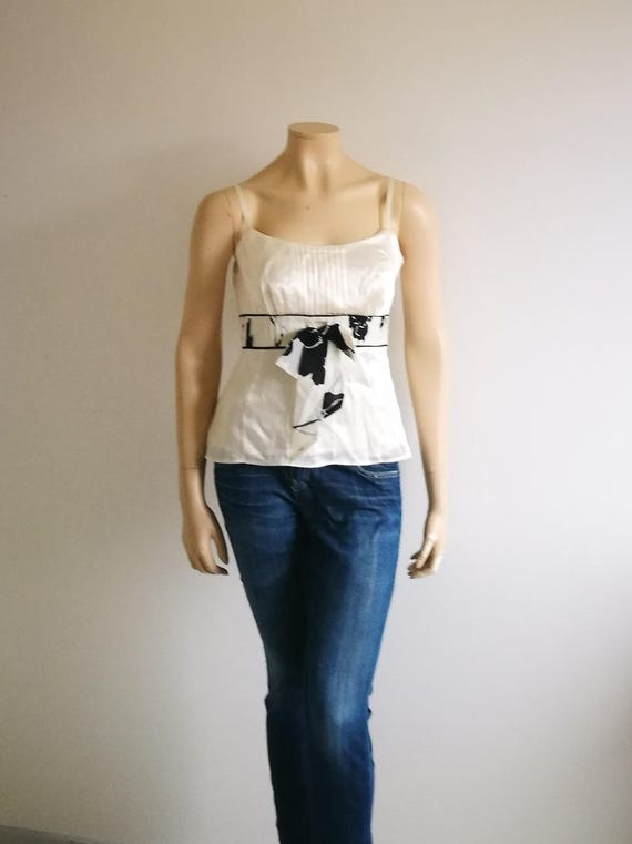 Vintage top Pure silk Fitted Cropped top Cami