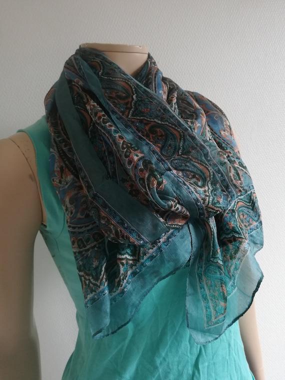 Silk scarf//Paisley  Boho wrap//Semi Sheer scarf