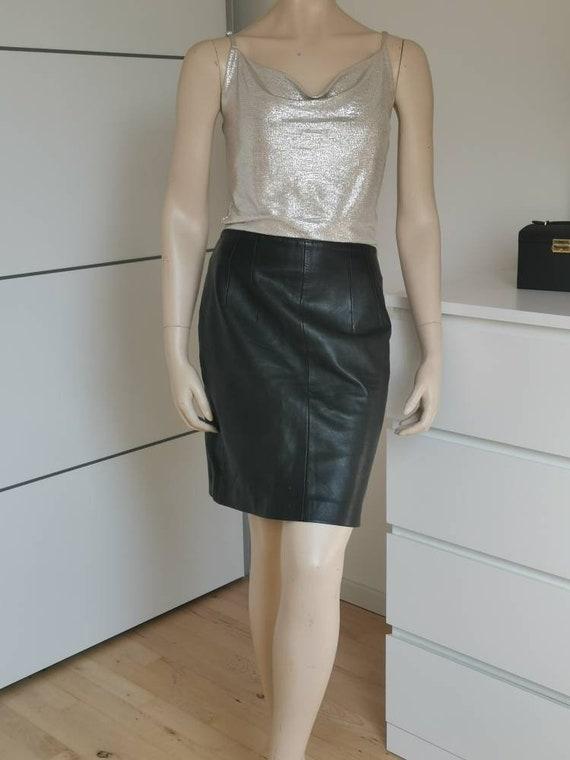 Vintage Leather skirt//Black Pencil skirt