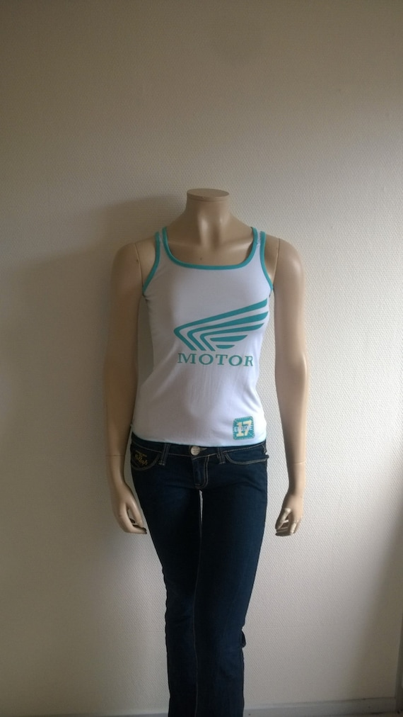 Vintage 90s top Fitted Mesh Tank top Sleeveless te