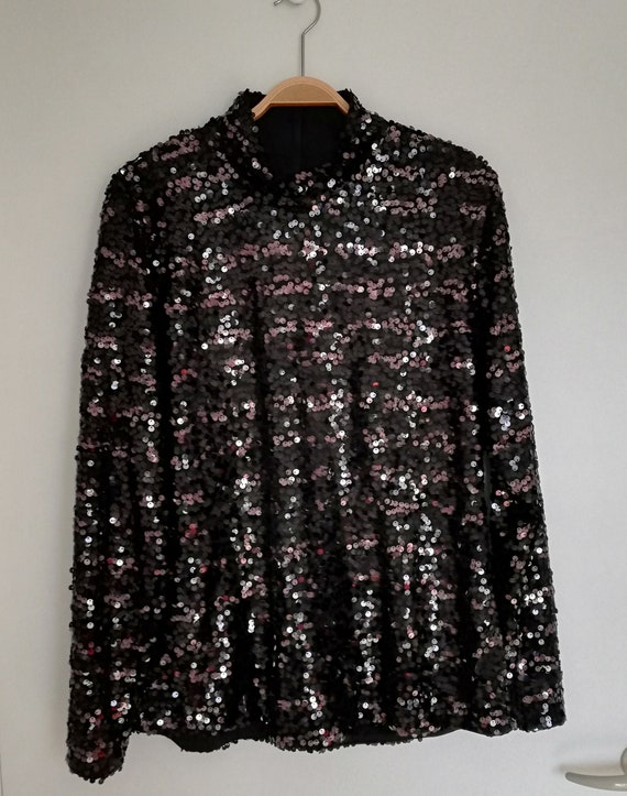 90s sequin top//festive vintage sequined top