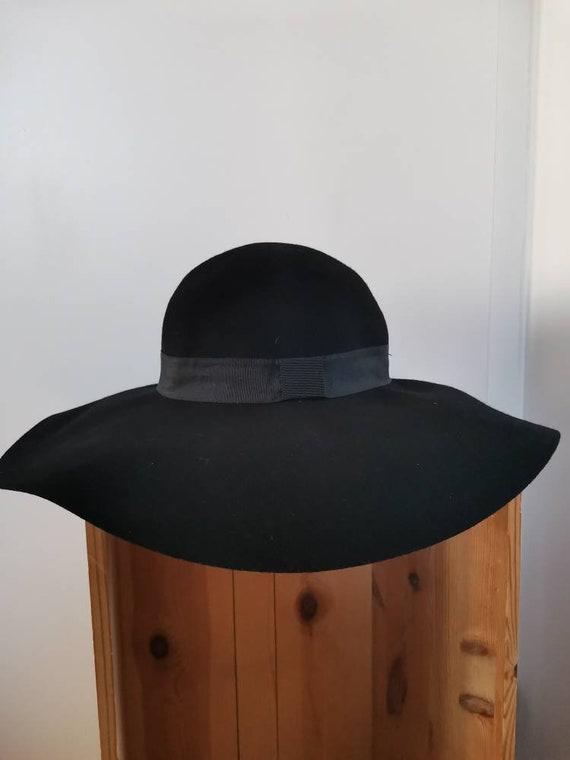 70s black boho felt hat