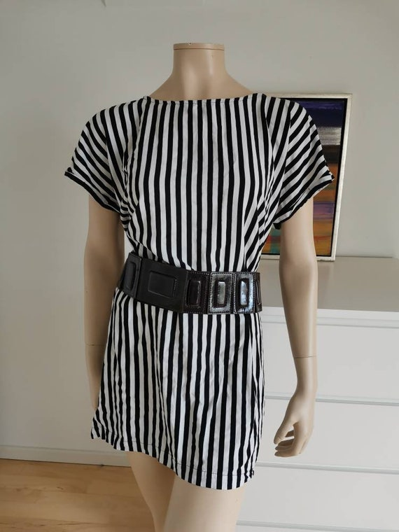 90s Loose fit dress//Black and White stripes