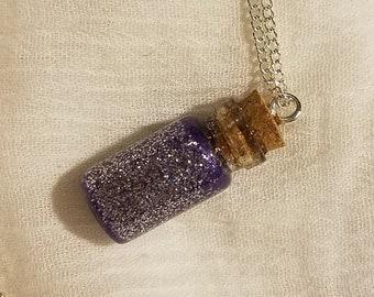 February Birthstone Bottle Charm Necklace (Amethyst)