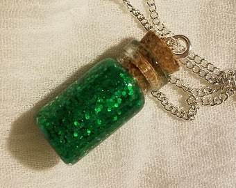 May Birthstone Bottle Charm Necklace (Emerald)