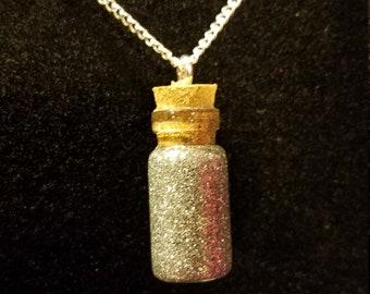 April Birthstone Bottle Charm Necklace (Diamond)